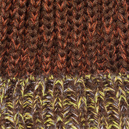 photo Wallpaper of DonDon-DonDon Damen Wintermütze Strickmütze Gefüttert Warm Und Weich Mit Bommel Braun Gelb-Braun-gelb-weiß