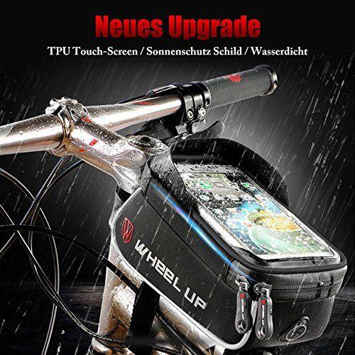 photo Wallpaper of ROTTO-Fahrradtasche Rahmentasche Oberrohrtasche Fahrrad Handy Tasche Vorne Sensitive Touch Screen Wasserdicht Groß Schwarz-Schwarz