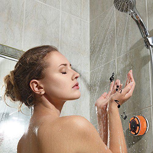 photo Wallpaper of HHX-Dusche Lautsprecher, HHX Wasserdichter Bluetooth 4.0 Lautsprecher Mit Starkem Saugnapf, Eingebautem Mikrofon,-Orange