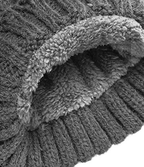 photo Wallpaper of Caripe-Caripe Warme Bommelmütze Kunstfell Fellbommel Bommel Winter Mütze Gefüttert Fleece Strickmütze   Zupa-1702-44 - grau