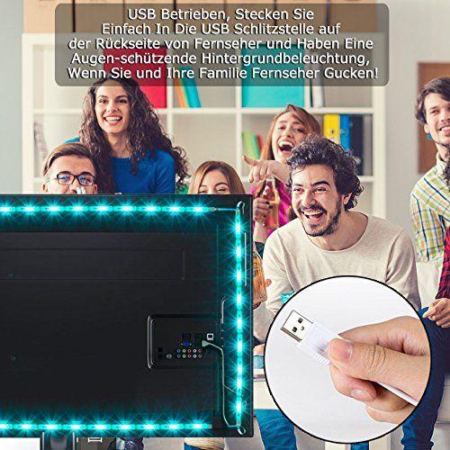 photo Wallpaper of Tobbiheim-Tobbiheim Fernseher Beleuchtung, TV Hintergrundbeleuchtung Leiste 2 Meter RGB LED Streifen-Silber