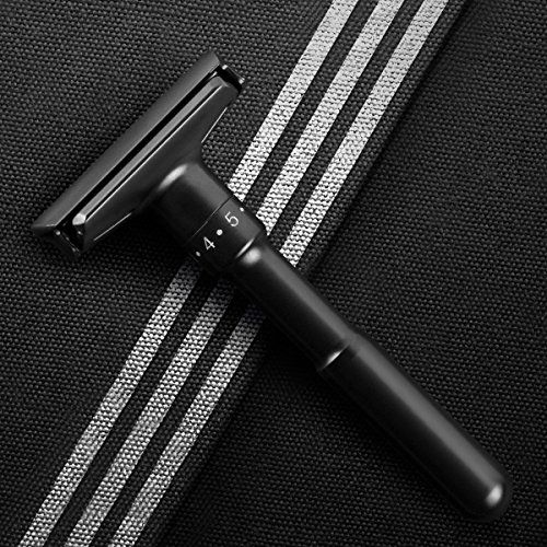 photo Wallpaper of QSHAVE-Qshave Ajustable Doble Borde Doble Filo, Classic Revestimiento Negro Mate (1 cuchilla &-