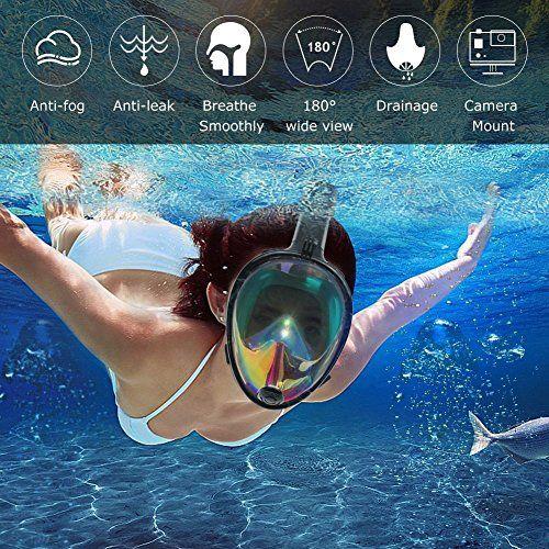 photo Wallpaper of OCEVEN-OCEVEN Panorama Vollmaske Schnorchelmaske Tauchmaske Vollgesichtsmaske Mit 180° Sichtfeld, Dichtung Aus Silikon-Schwarz Reflektierend