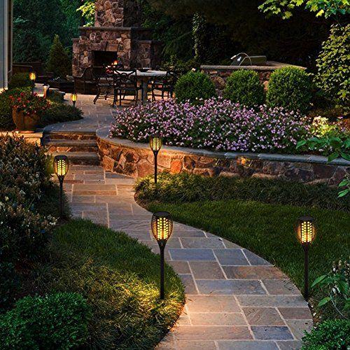photo Wallpaper of BlueFire-Bluefire Solar Fackel Garten Licht Lampe , 96 LED Flammenartige Automatisches Einschalten/Ausschalten-