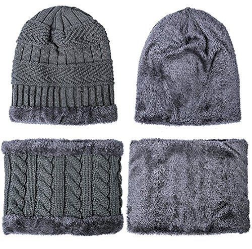 photo Wallpaper of Tianyu-Schal Mütze Set, Wintermütze Strick Beanie Wollmütze Warme Skimütze Winter Hat Gefütterte Unisex-Grau