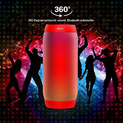 photo Wallpaper of Life-Plus-LED Lautsprecher, HUMTUS Wireless Bluetooth Lautsprecher, HIFI Lautsprecher Tragbarer Stereo Lautsprecher USB-Rot