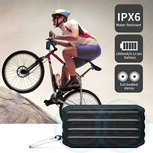 photo Wallpaper of Techvilla-Tragbare Bluetooth Lautsprecher Outdoor, Techvilla IPX6 Wasserdicht Staub Bluetooth Speaker,Dual Treiber Subwoofer Bass, Bluetooth-Schwarz