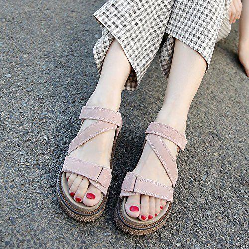 photo Wallpaper of PAMRAY-PAMRAY Sommer Sandalen Damen Slingback Velcro Wildleder Sandale Frauen Double Platform Riemchen Sandaletten-Rosa(bittenehmensiedasgrößenetikettderschuhealsstandard,wennsiesieerhalten)