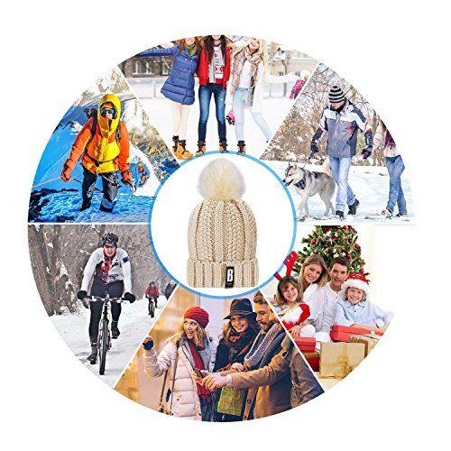 photo Wallpaper of Proking-Damen Beanie,Proking Pom Pom Damen Strickmützen Winter, Damen Bommelmütze ELEGANCE Mit Warmen Fleece-Beige