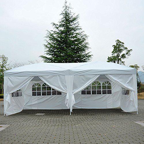 photo Wallpaper of Homcom-Outsunny® 3x6 M Faltpavillon Pavillon Faltzelt Partyzelt Gartenzelt Inkl. 6 Seitenteile-weiß