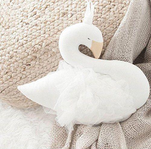 photo Wallpaper of Upxiang-Upxiang Schwan Plüsch Schlaf Puppen Dekokissen Crown Swan Kinder Spielzeug Fotografie Requisiten-Weiß