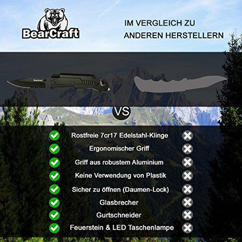 photo Wallpaper of BearCraft-BearCraft Klappmesser | Outdoor Survival Taschenmesser Mit Wellenschliff | Rettungsmesser Mit Mini LED Taschenlampe-