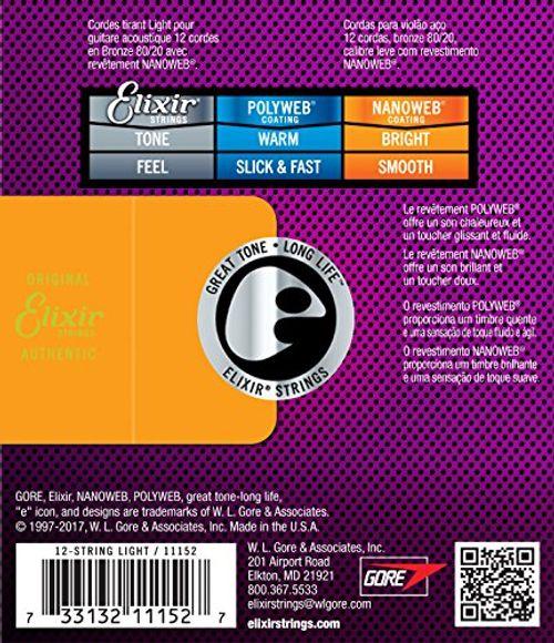 photo Wallpaper of Elixir-Elixir 11152 Acoustic Guitar Saiten 12 Light Nanoweb Coating-1 Pack