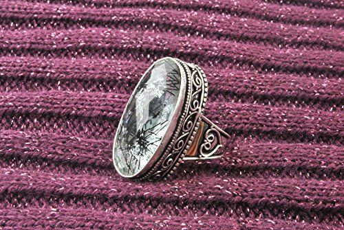 photo Wallpaper of Indie Artisans-Indie Artisans BLACK ADEL RUTILE Ring 925 Silber überzogene Simulierte-