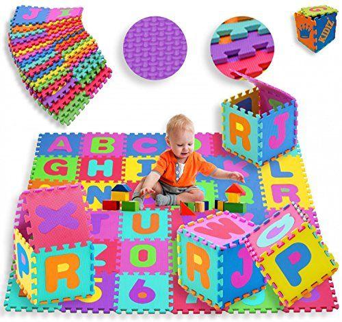 photo Wallpaper of Kidiz-KIDIZ® Spielmatte 86 Tlg. Spielteppich Puzzlematte Kinderteppich Matte Schutzmatte Kinderspielteppich Schaumstoffmatte ABC Bunt Lernteppich-