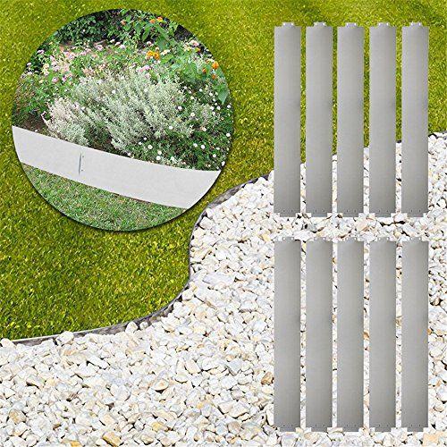 photo Wallpaper of MCTECH-MCTECH® 10 X Rasenkante Metall Verzinkt Beetumrandung Beeteinfassung Mähkante, 14cm Hoch,-