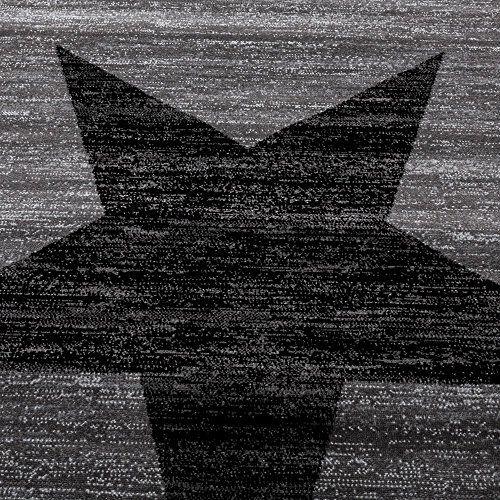 photo Wallpaper of Paco Home-Paco Home Designer Teppich Stern Muster Modern Trendig Kurzflor Meliert In Grau Schwarz,-grau