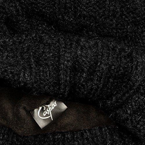 photo Wallpaper of CASPAR Fashion-CASPAR MU174 Damen Winter Mütze Strickmütze Bommelmütze Mit Großem Fellbommel, Farbe:schwarz;Größe:One Size-Schwarz