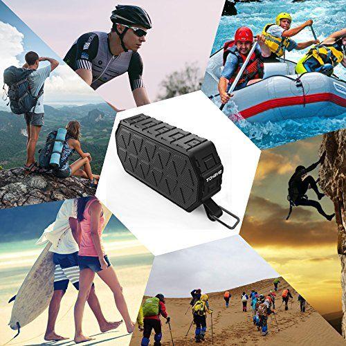 photo Wallpaper of ToHayie-ToHayie Bluetooth Lautsprecher Wasserdicht,IPX6 Outdoor Tragbarer Lautsprecher,Mobiler Bluetooth 4.2 Lautsprecher,1000mAh Akku, Mikrofon-Schwarz
