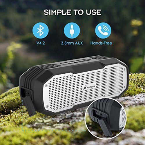 photo Wallpaper of Honstek-Tragbare Bluetooth Lautsprecher, Honstek K9 Wasserdichter Bluetooth Lautsprecher IPX7 DSP-Braun