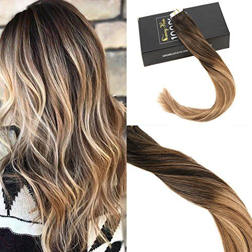 photo Wallpaper of -Sunny Extensiones De Cabello Natural Adhesivas Balayage Marron Mezclado Caramelo Rubio 100% Pelo-