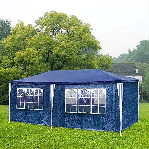 photo Wallpaper of huigou-HG® Partyzelt Festzelte 3x6m Blau Camping Vereinszelt Strand Stahlkonstruktion Mit Extra Dickem Stahlgestänge Wasserdicht-Blau