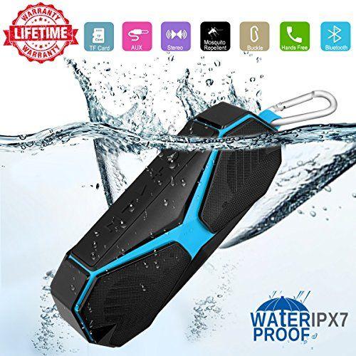 photo Wallpaper of Kindak-Bluetooth Lautsprecher Boxen, Ipx7 Wasserdicht Abwehrmittel Stoßfest Kabellose Tragbare Klein-Schwarz + Blau