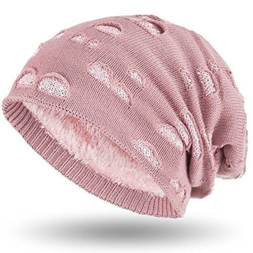 photo Wallpaper of Compagno-Compagno Wintermütze Mit Pailletten Warm Gefütterte Beanie Elegantes Lochmuster Mit Weichem Fleece Futter-Rose
