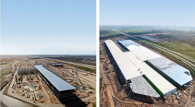 Строительство Гигафабрики Tesla в Техасе: прогресс за 6 месяцев. Фото: @Tesla