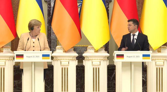 22 серпня Зеленський і Меркель провели переговори. Фото: стоп-кадр відео