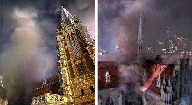 Горят костелы в Киеве (слева) и Париже