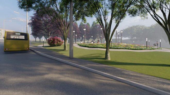 Візуалізація майбутнього скверу біля станції метро «Сирець»
