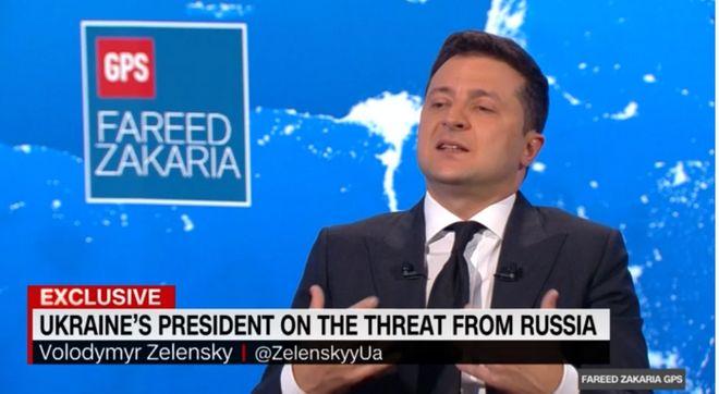 Інтерв'ю президента Володимира Зеленського телеканалу CNN. Фото: стоп-кадр з відео