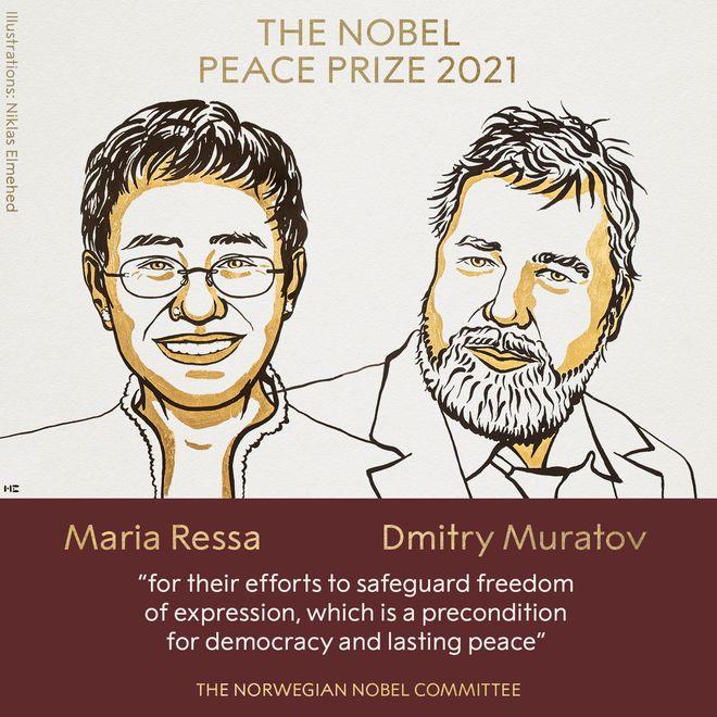 Нобелівську премію миру отримають журналісти з Росії та Філіппін. Фото: twitter.com/NobelPrize